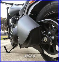 Harley Davidson pour Cuir Noir Bras Oscillant Sacoche Sacoche Latérale + Vert