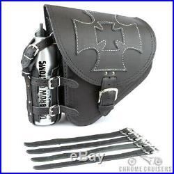 Harley Davidson pour Cuir Noir Gauche Simple Selle Sac avec Bouteille Cross