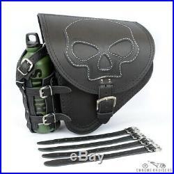 Harley Davidson pour Cuir Noir Gauche Simple Selle Sac avec Bouteille Skull