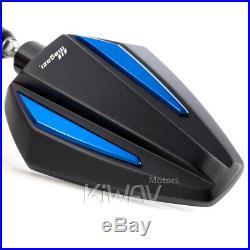 Rétroviseur Achilles 3D noir bleu adjustable pour Harley SOFTAIL FAT BOY LO