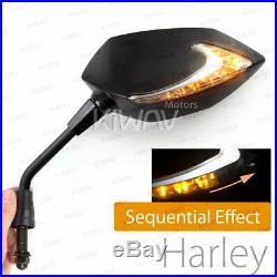 Rétroviseur séquentiel dual LED Lucifer noir 5/16 pour Harley dyna softail