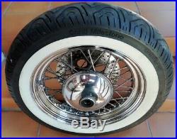 Roue A Rayons Avant Complète Pneu Flancs Blancs Harley Davidson Softail Héritage